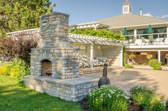A built-in outdoor fireplace will provide warmth and comfort for years to come.